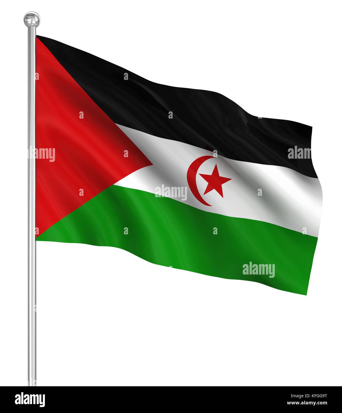 Sahrawi Arab Democratic Republic flag , computer generated image. 3d render. - Stock Image