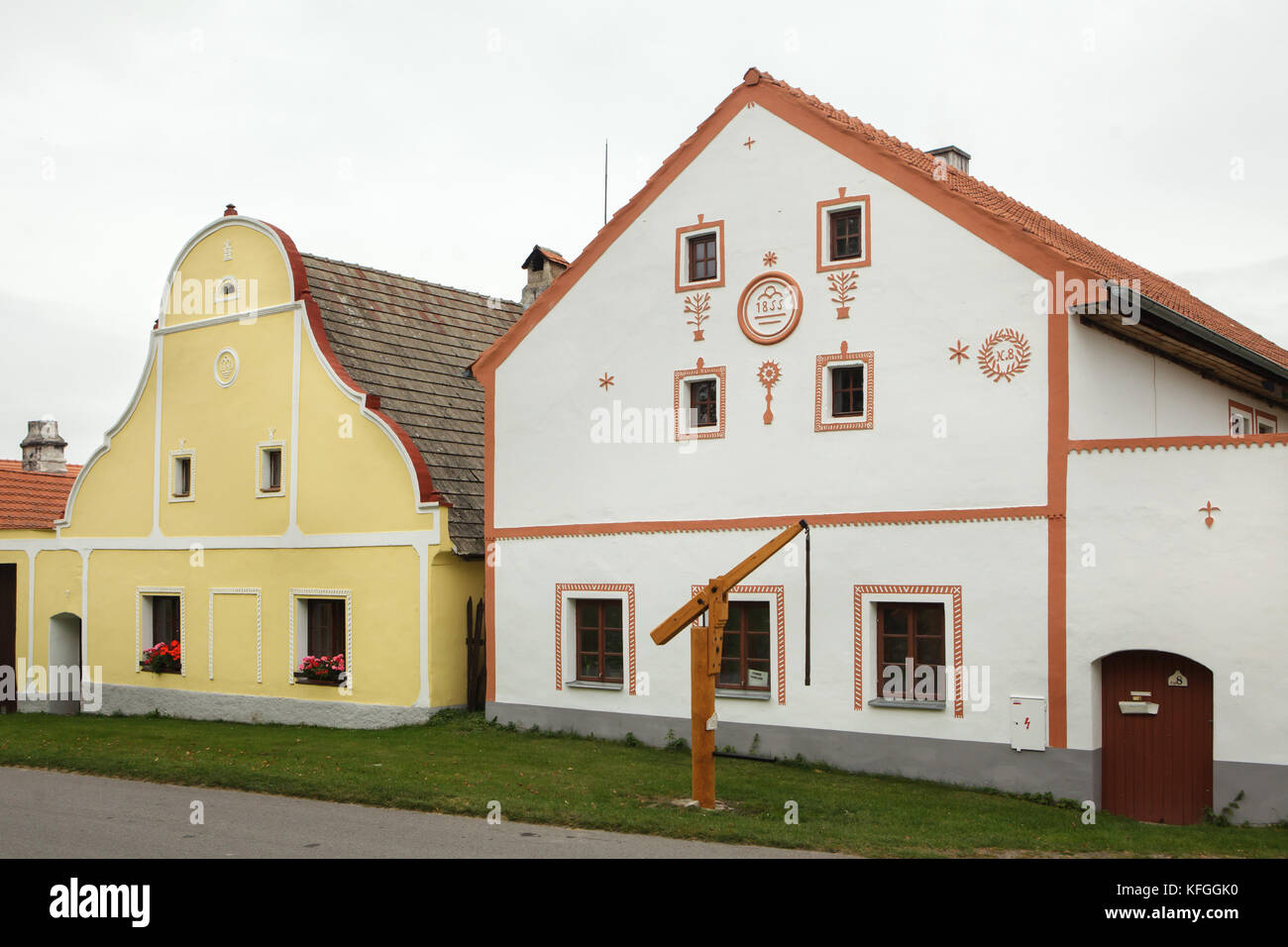 Houses In Rural Baroque Style The Historical Village Of Holasovice South Bohemia Czech Republic