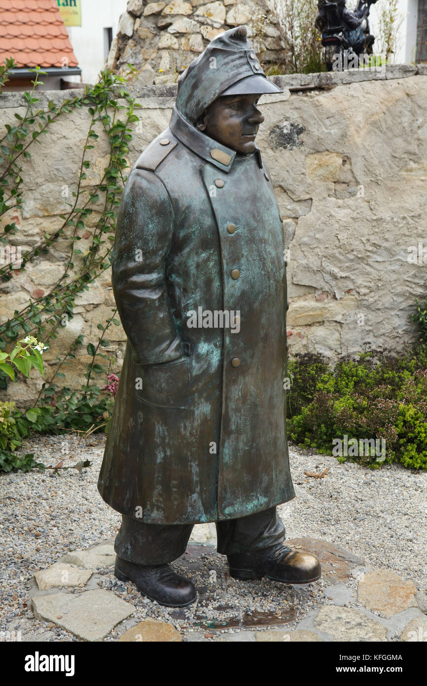 Statue of Good Soldier Švejk in Putim in South Bohemia, Czech Republic. Josef Švejk is the main character of the Stock Photo