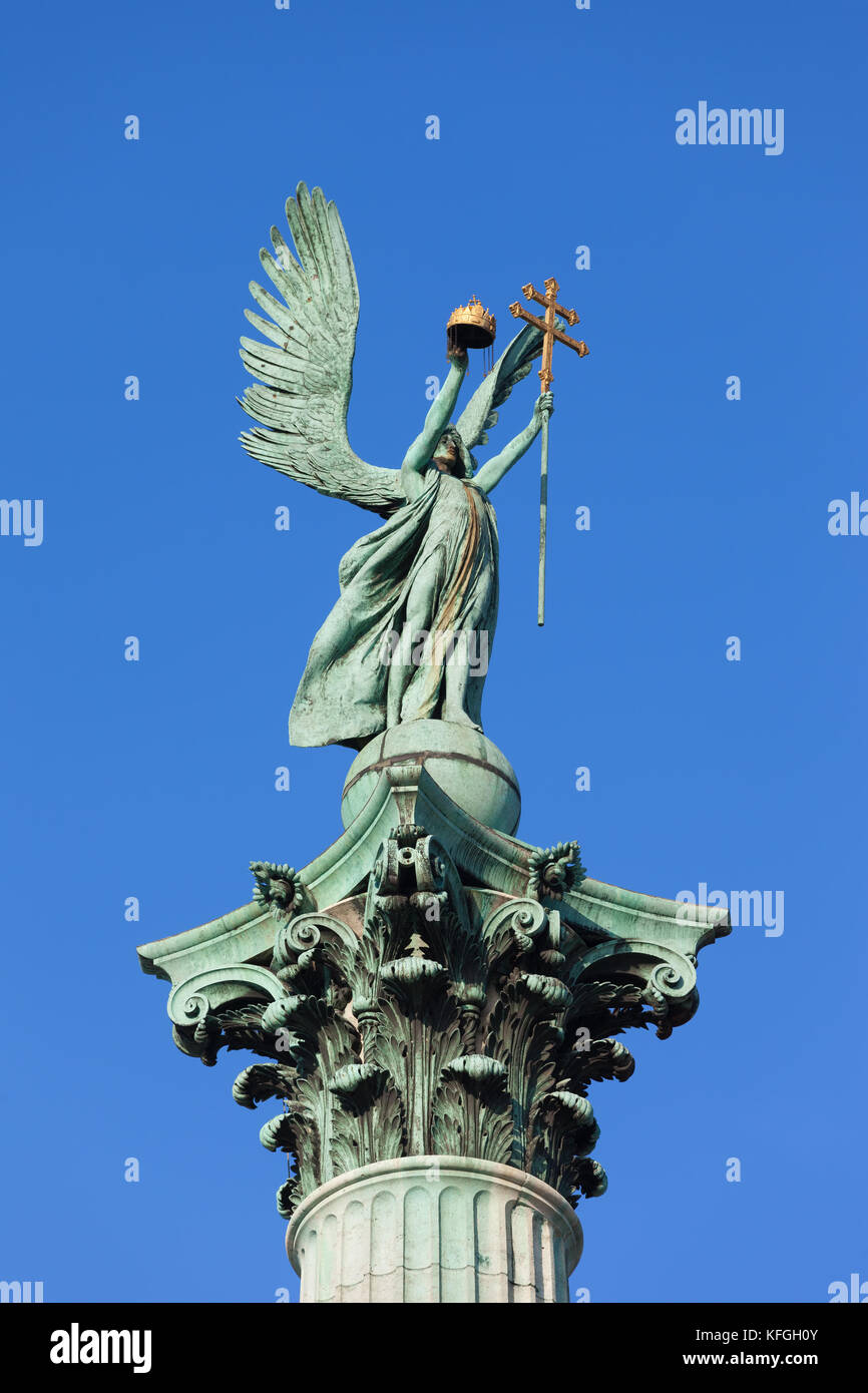 Archangel Gabriel statue holding Holy Crown of St. Stephen and Apostolic Cross, part of the Millennium Monument Stock Photo