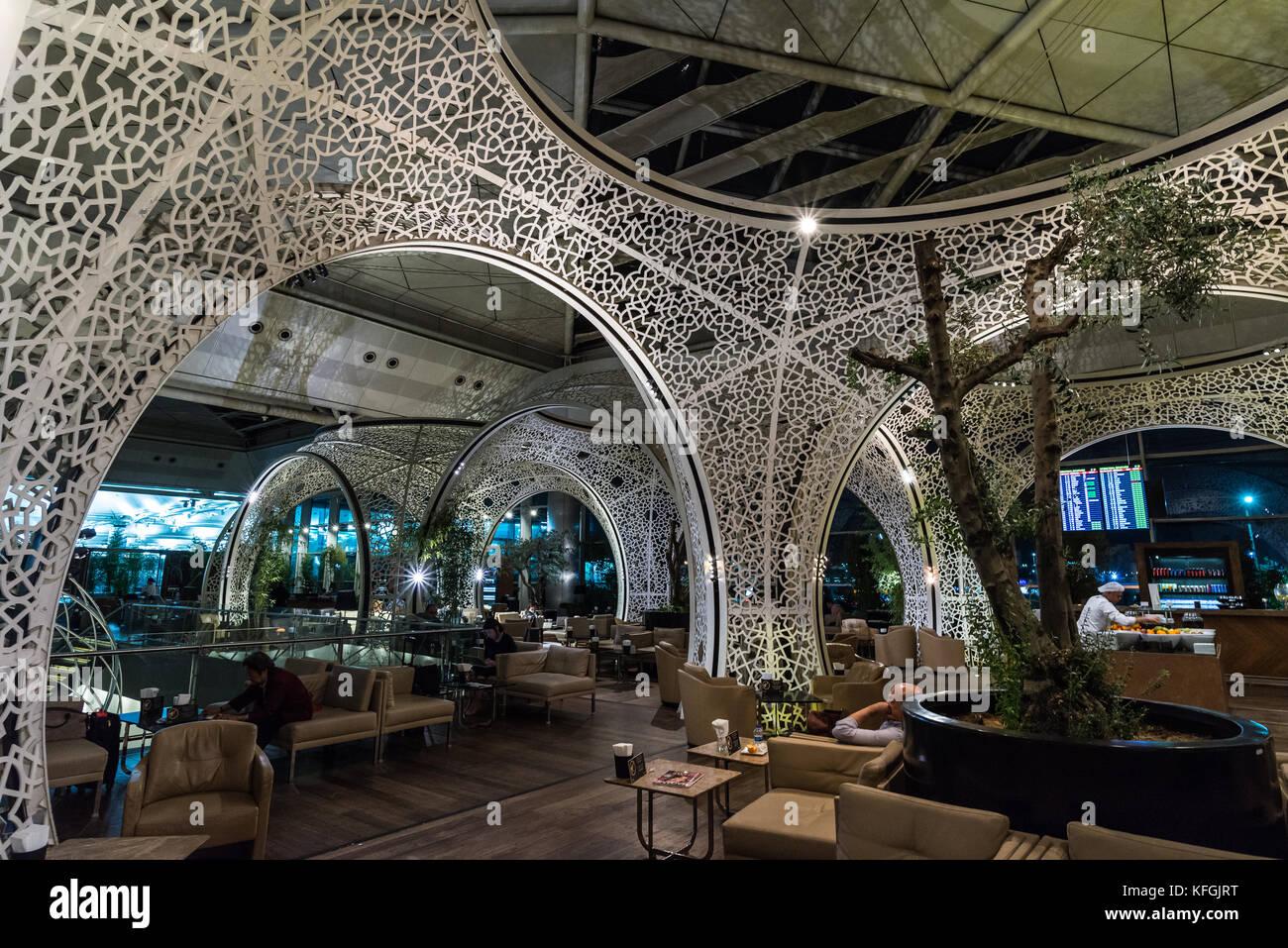 Interior Of Turkish Airline Premier Lounge. Istanbul Airport, Turkey.