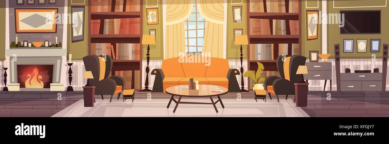 Cozy Living Room Interior Design With Furniture Sofa Table Armchairs Fireplace Bookcase Horizontal Banner