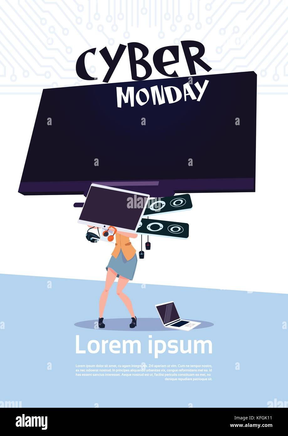 Cyber Monday Sale Poster With Woman Holding Big Tv Plasma Over White Stock Vector Image Art Alamy