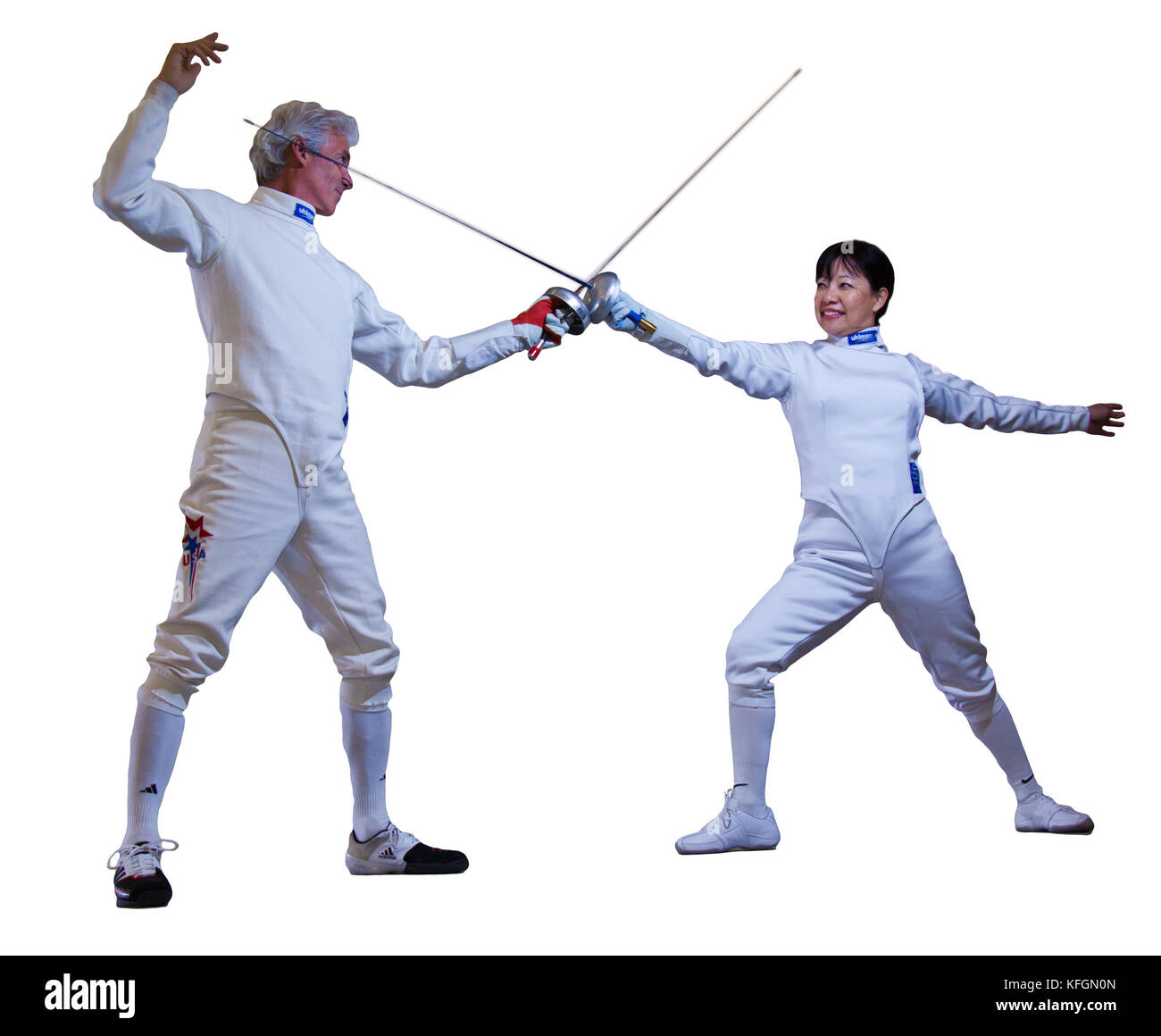 Two fencers demonstrate salute stance on Mar 20, 2011 - Stock Image