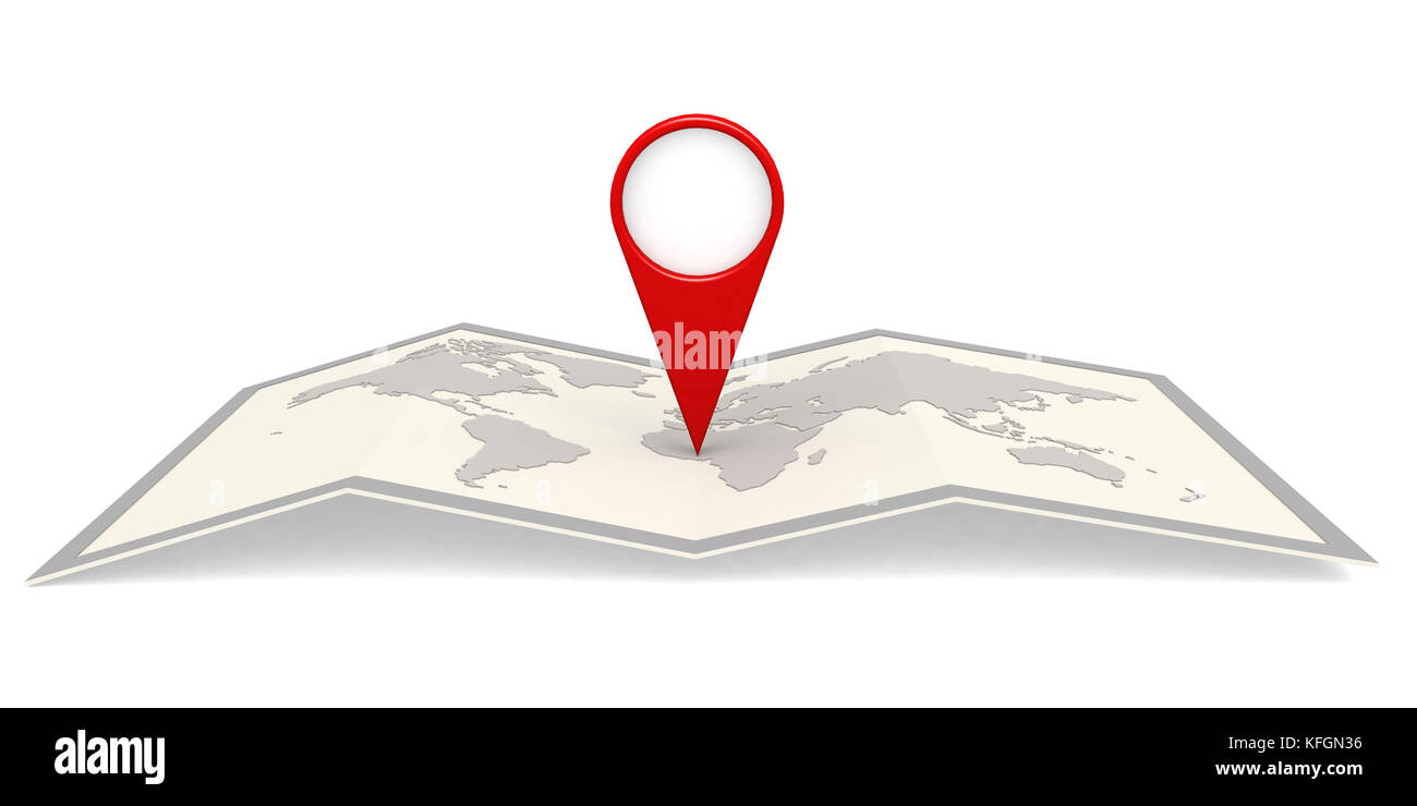 World map in frame with pin pointer. 3D rendering - Stock Image