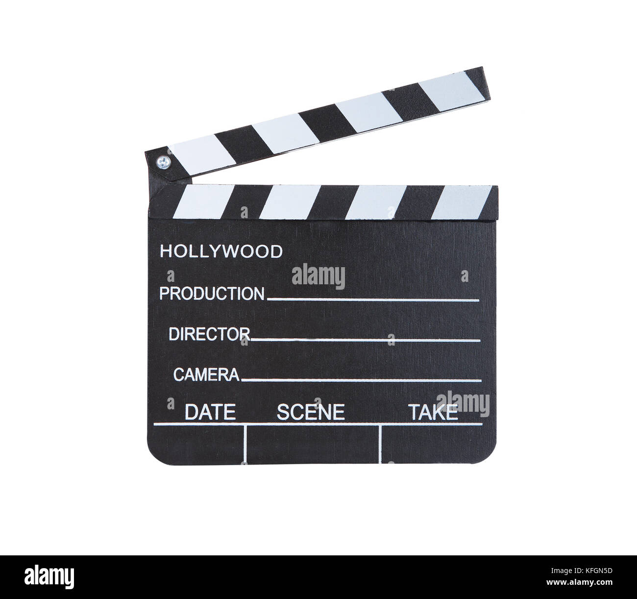 Close-up of a classical movie clapper ready to record a new Hollywood production  with blank spaces for director - Stock Image
