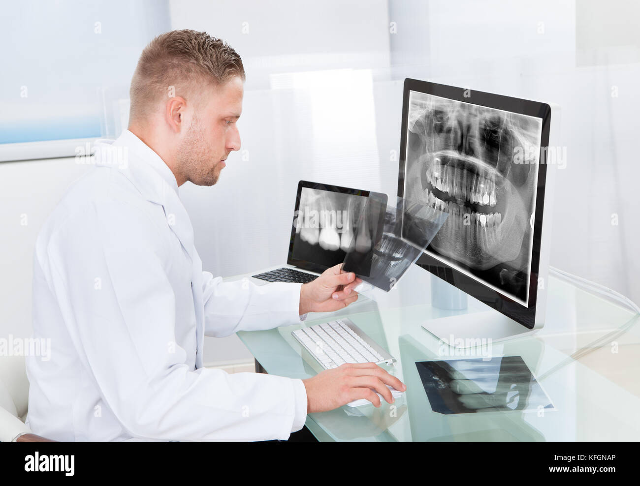 Doctor or radiologist looking at an x-ray online displayed on a desktop monitor as he makes a diagnosis or checks - Stock Image