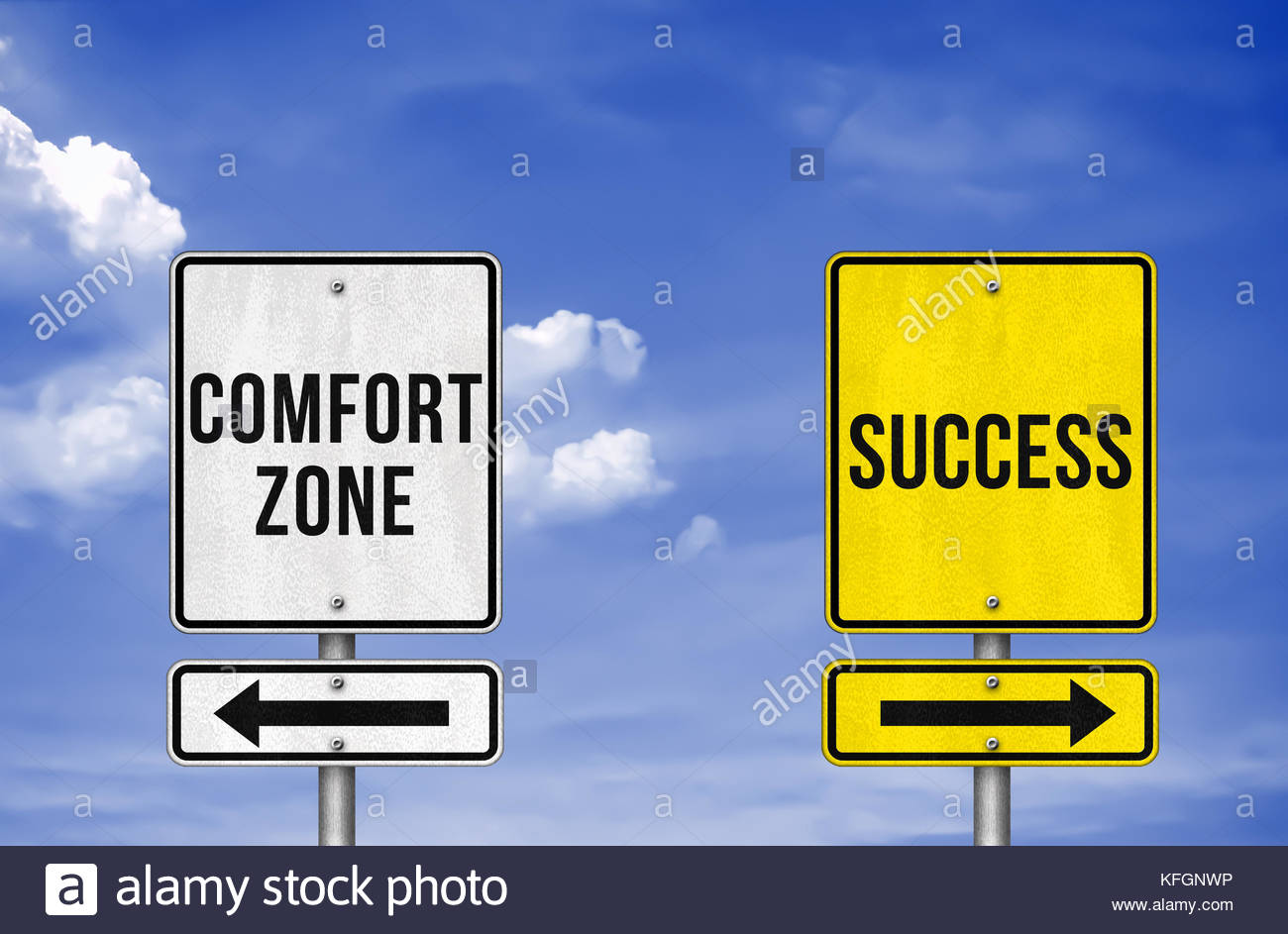 Career decision - comfort zone or success - Stock Image