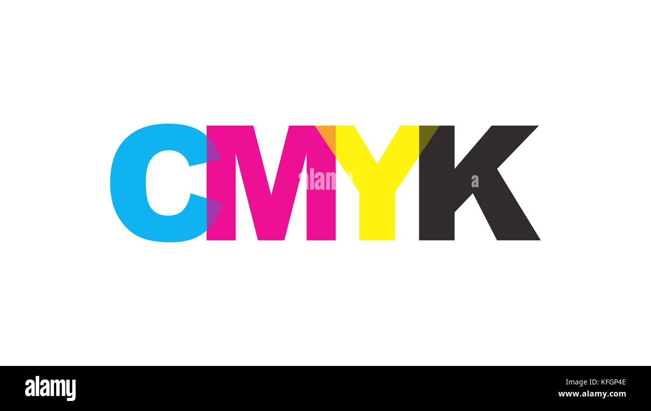 CMYK color text logo concept. Vector illustration. - Stock Image