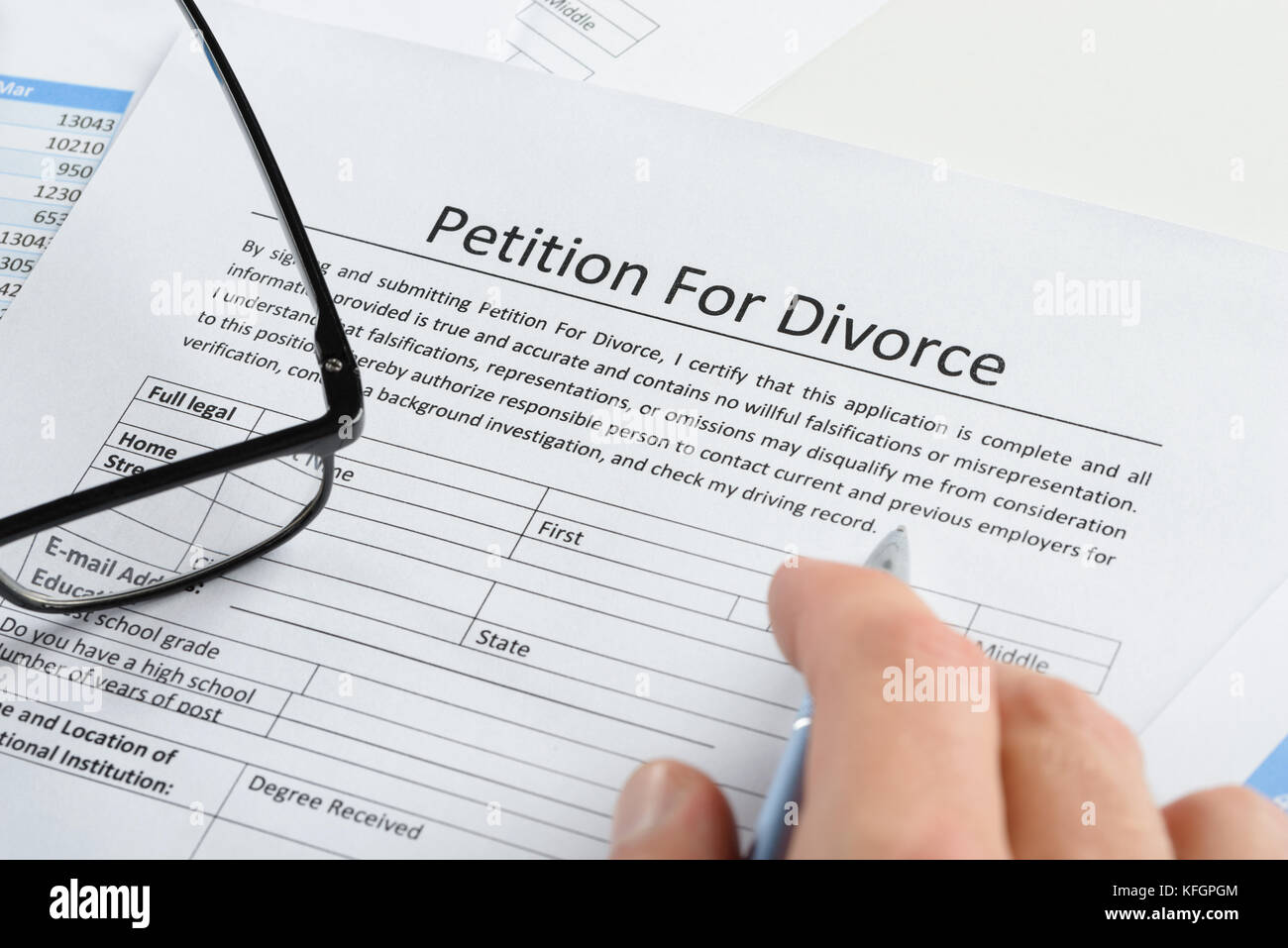 Close-up Of Hand With Pen On Petition For Divorce Paper - Stock Image