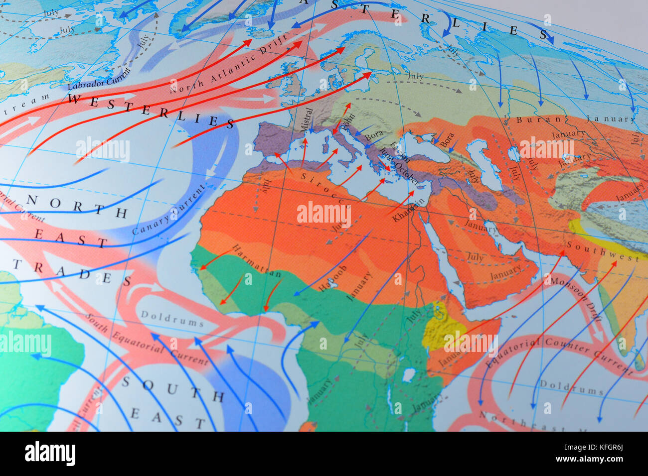 Close up of a Map of wind directions over europe Stock Photo ... on