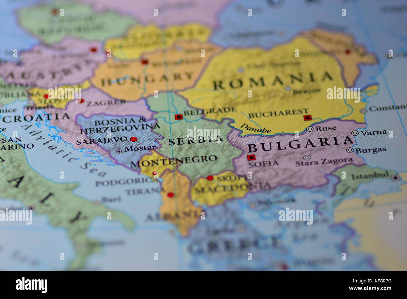 Close up map countries bulgaria romania stock photos close up map close up of a map of a map of europe stock image gumiabroncs Image collections