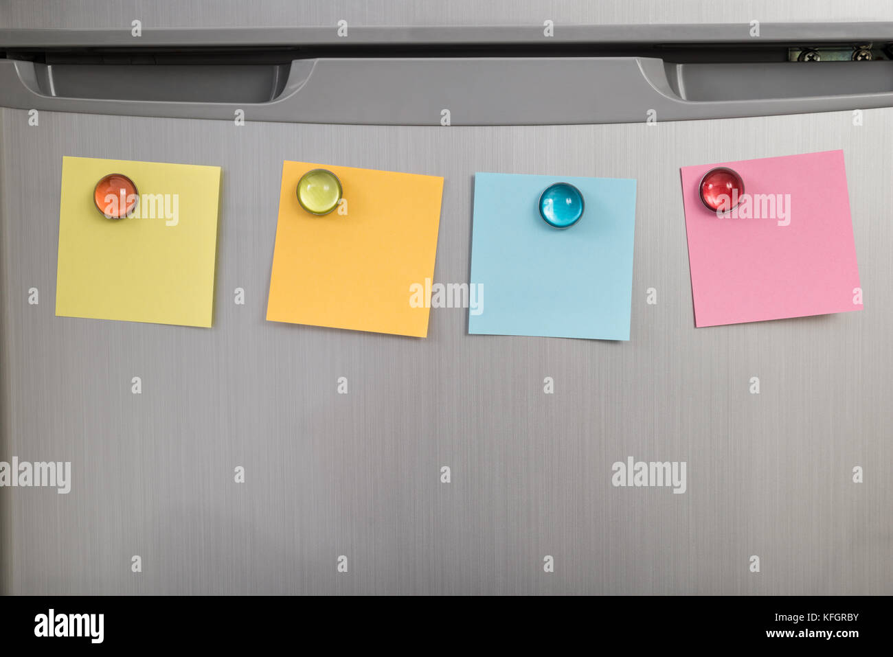 Gray Refrigerator Door With Colorful Notes Posted With Magnets - Stock Image & Fridge Post It Notes Stock Photos \u0026 Fridge Post It Notes Stock ...