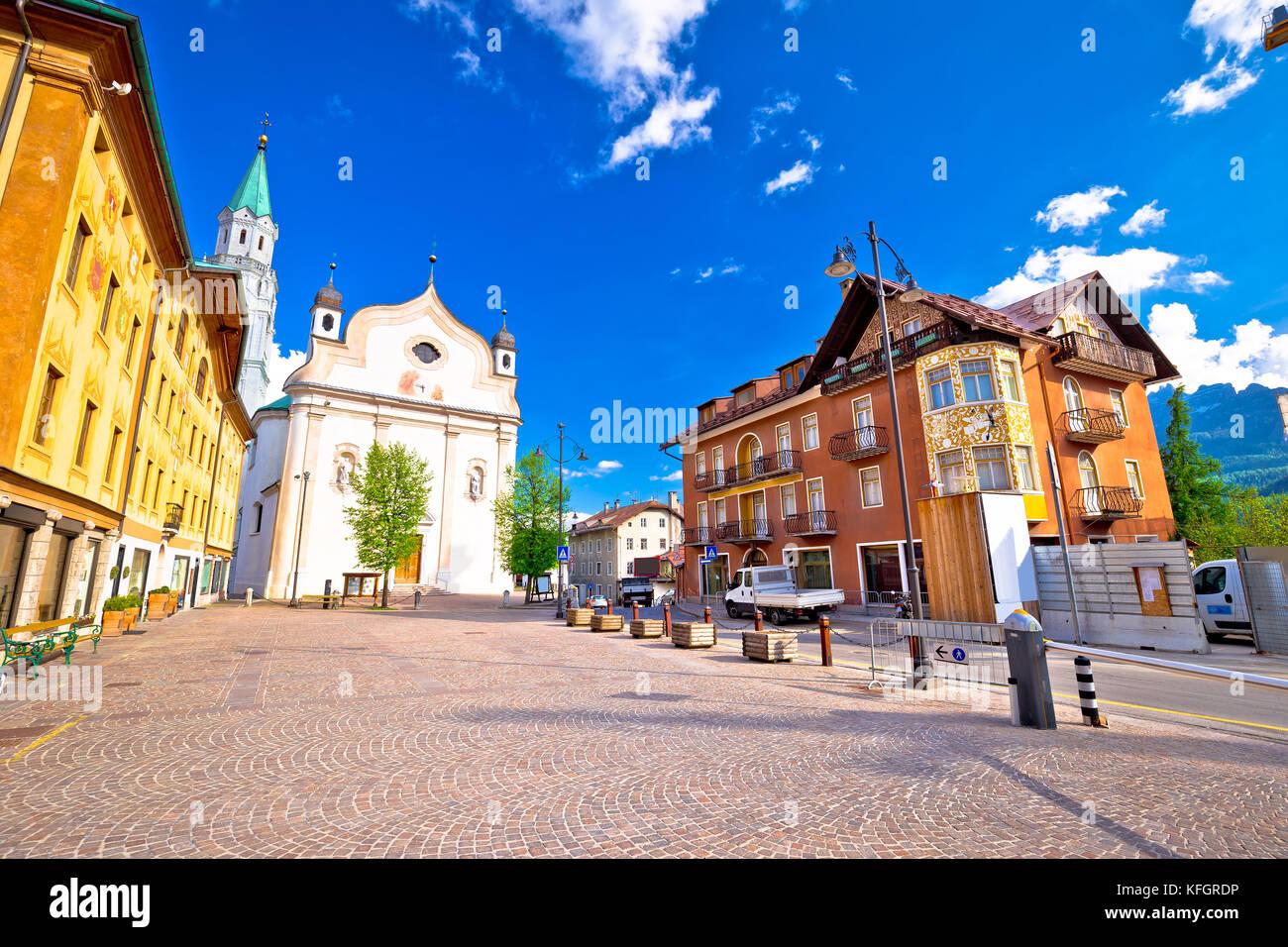 Cortina d' Ampezzo main square architecture view, Veneto region of Italy - Stock Image
