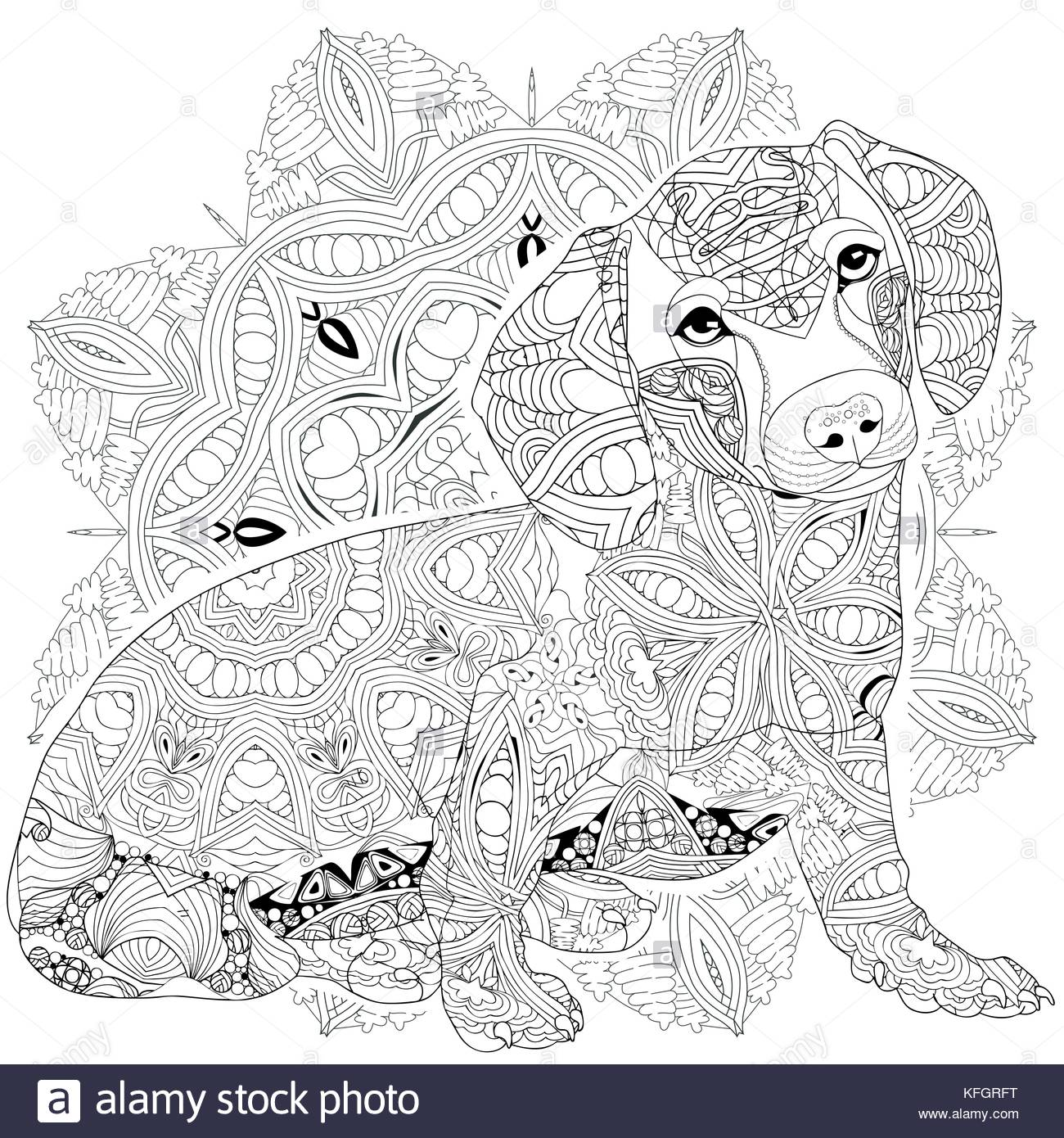 Hand Painted Art Design Adult Anti Stress Coloring Page Black And White Drawn Illustration Dog For Book