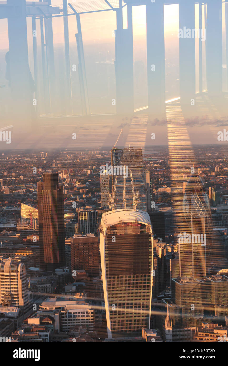 View of the City of London from The Shard viewing platform at sunset in London Stock Photo