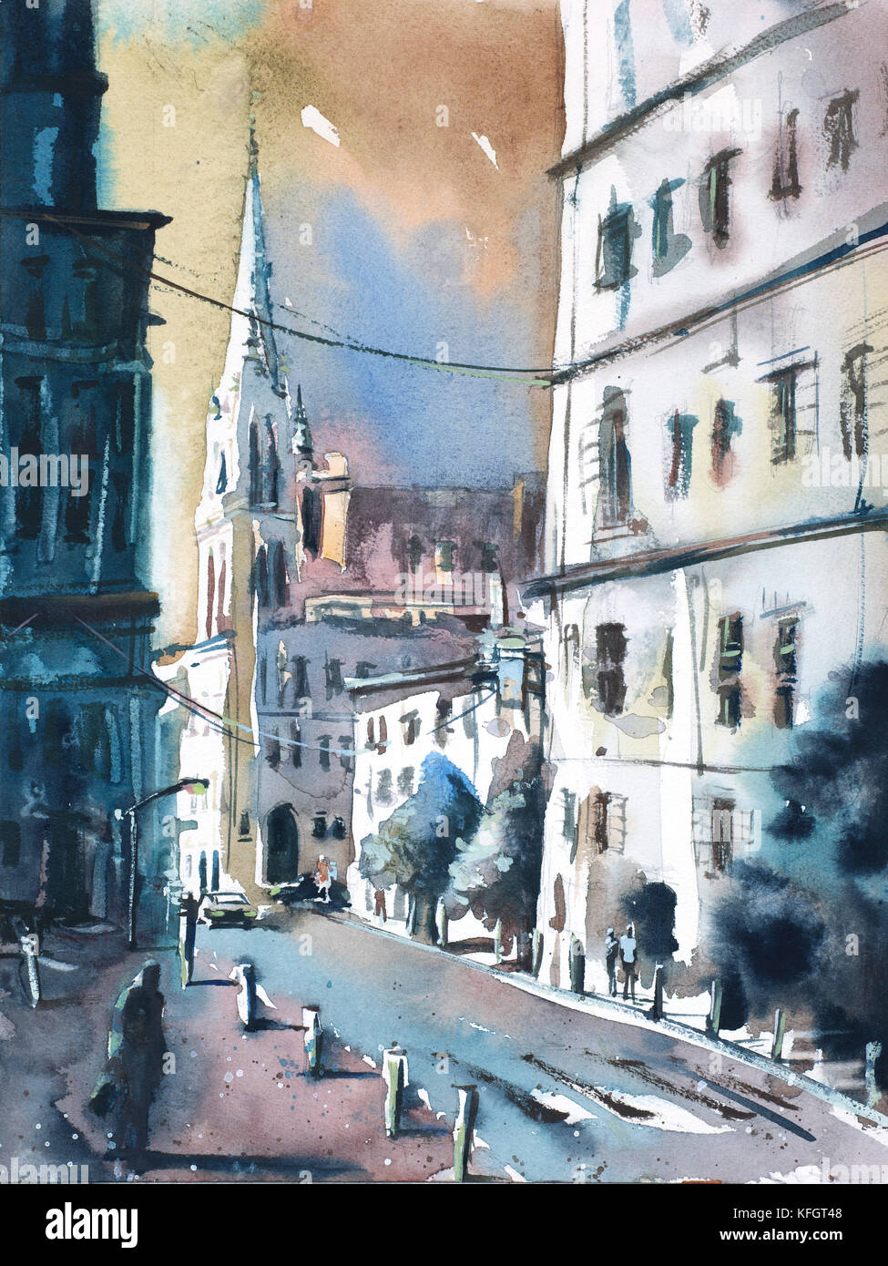 Imagined cityscape scene painted in watercolor by Raleigh, NC artist Ryan Fox Stock Photo