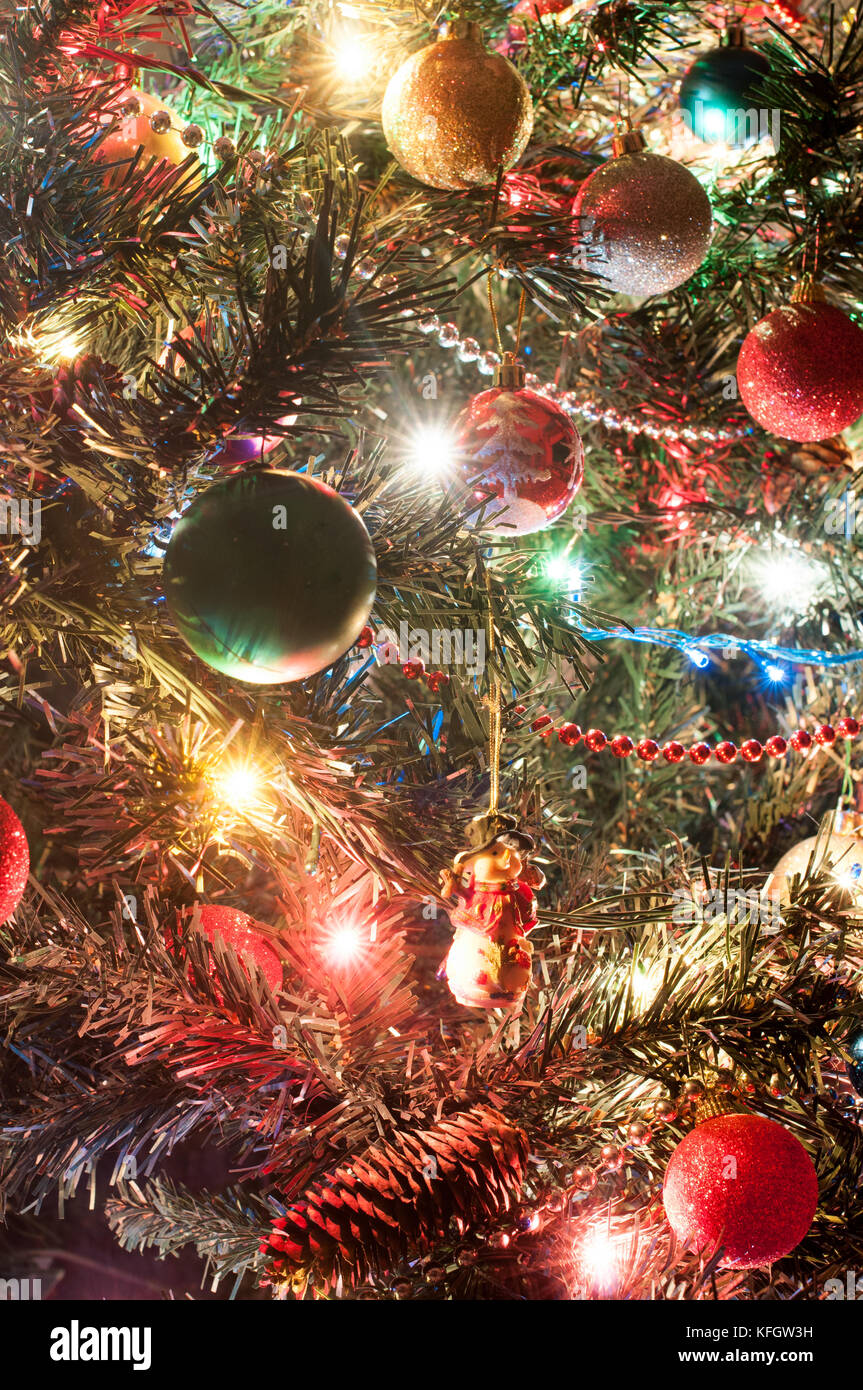 part of decorated christmas tree with lights KFGW3H