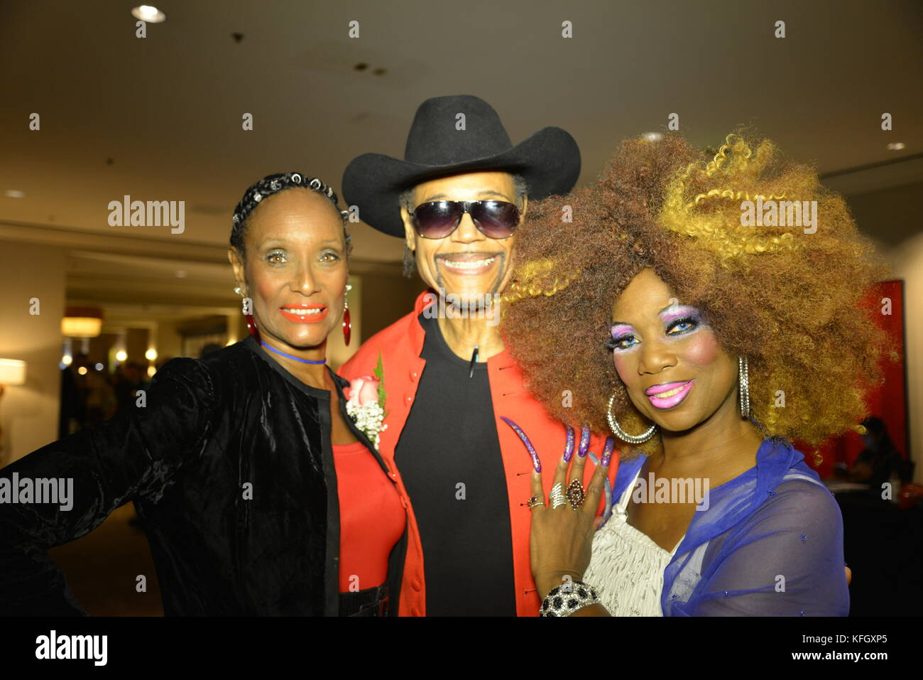 CEO/Host Cerdan and Carole Co-Host of CDAEM with Actress Trina Parks at the Hollywood Show - Stock Image