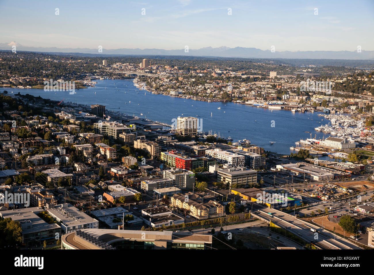 WA14156-00...WASHINGTON - View of Lake Union from the observation deck of the Space Needle in the Seattle Center. Stock Photo