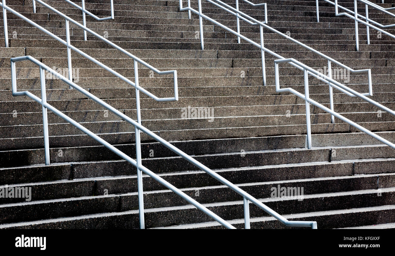 WA14163-00...WASHINGTON - Steps and hand rails at Century Link Field in Seattle. Stock Photo