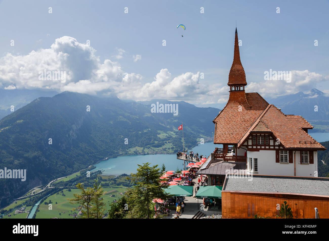 Harder Kulm and view to Lake Thun, Interlaken, Switzerland - Stock Image