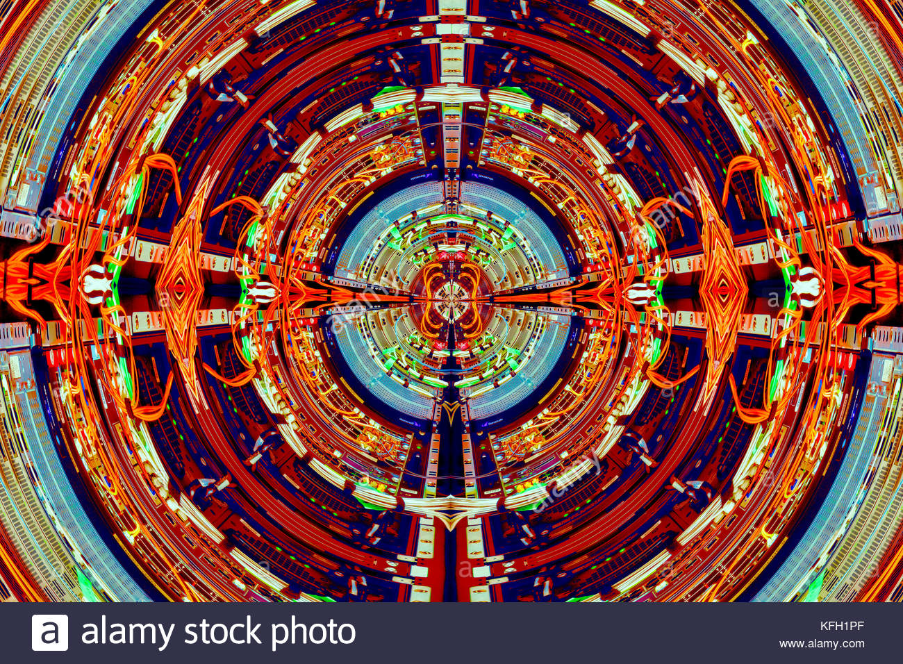 Abstract photo illustration computer technology based on wiring on back of a computer. - Stock Image