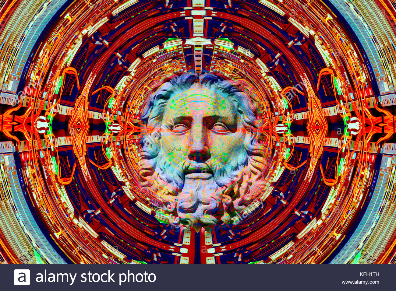 Artificial Intelligence emerging from a computer network science and religion god the singularity cyborg transhumanism - Stock Image