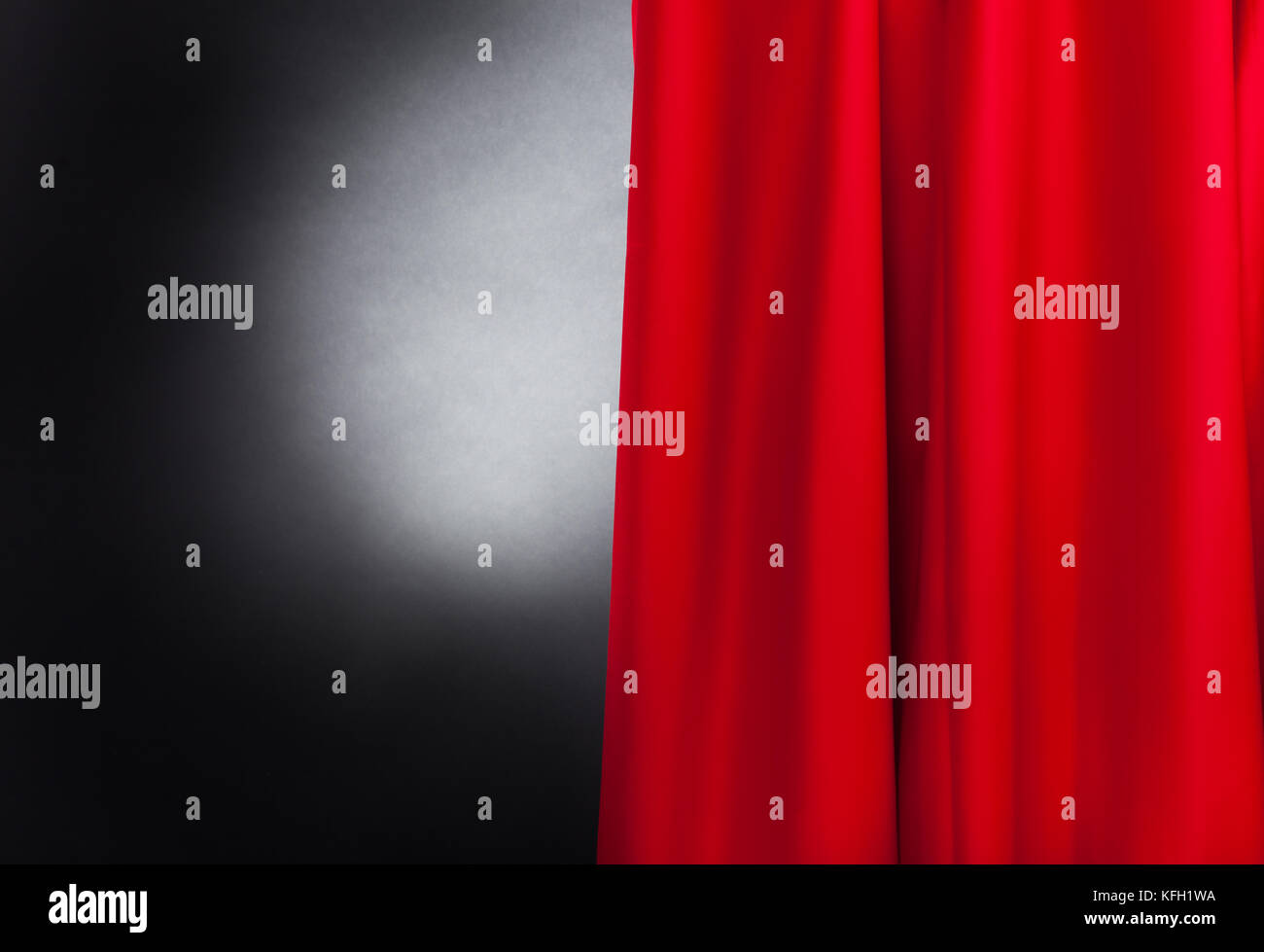 Photo of theater stage with red curtain - Stock Image