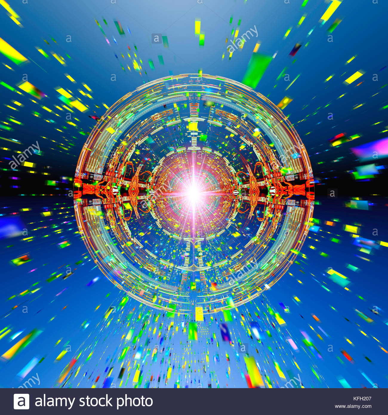 Abstract photo illustration computer technology singularity computation IT cyber attack. - Stock Image