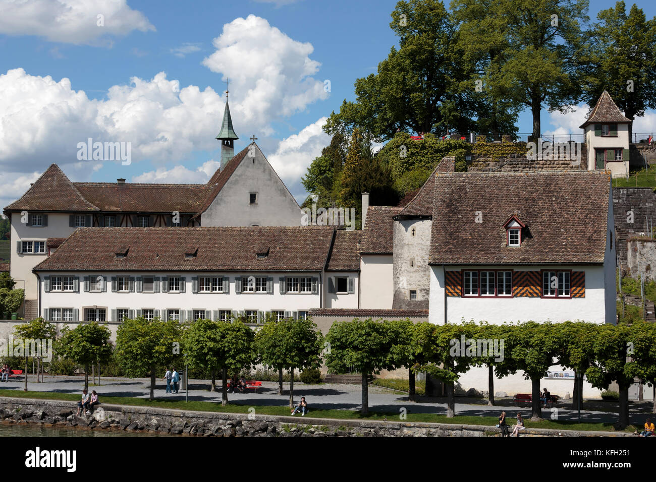 Capuchin Monastery and waterfront, Rapperswil, St Galen, Switzerland - Stock Image