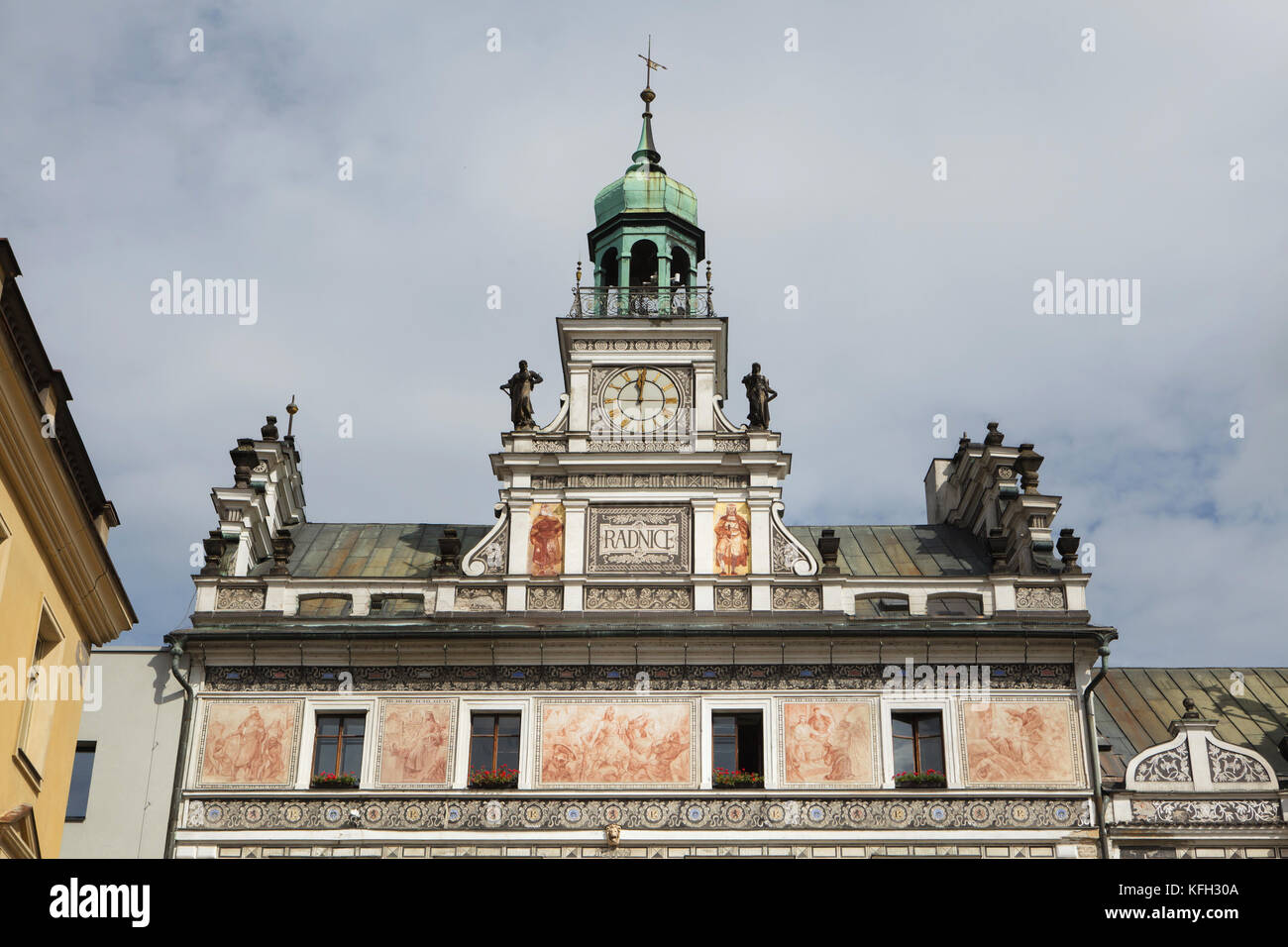 Neo-Renaissance town hall in Karlovo Square in Kolín in Central Bohemia, Czech Republic. The building designed - Stock Image
