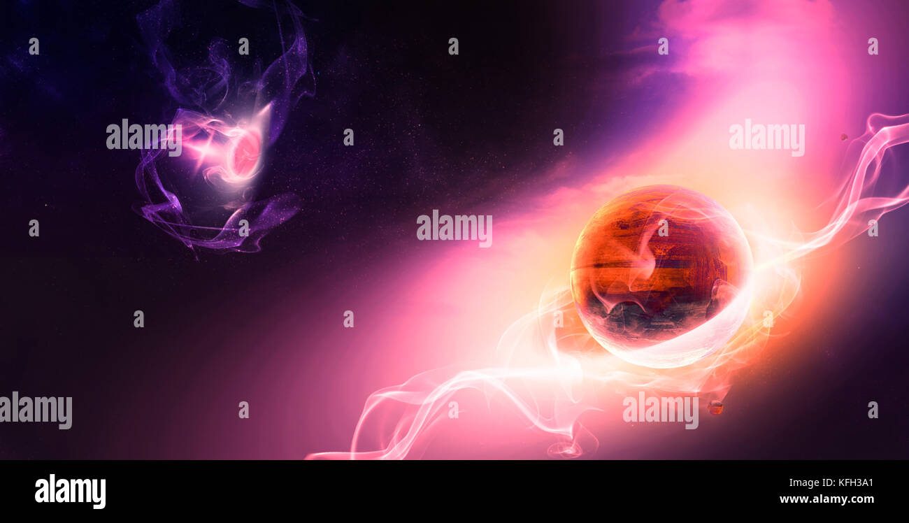 Celestial Art, Planets Evolution in Outer Space, Red Planet Life Begins with Electrical Waving Lines through Deep - Stock Image