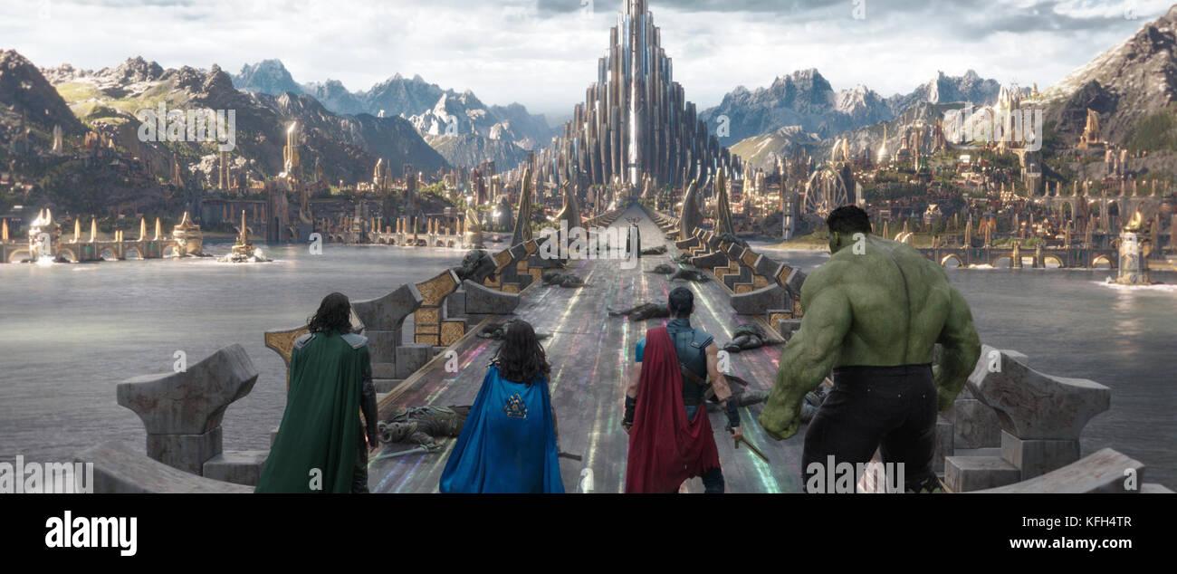 RELEASE DATE: November 3, 2017 TITLE: Thor: Ragnarok STUDIO: Marvel Studios DIRECTOR: Taika Waititi PLOT: Imprisoned, - Stock Image