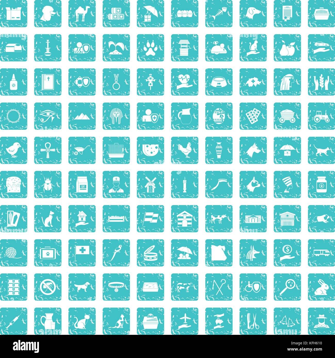 100 pets icons set grunge blue - Stock Image