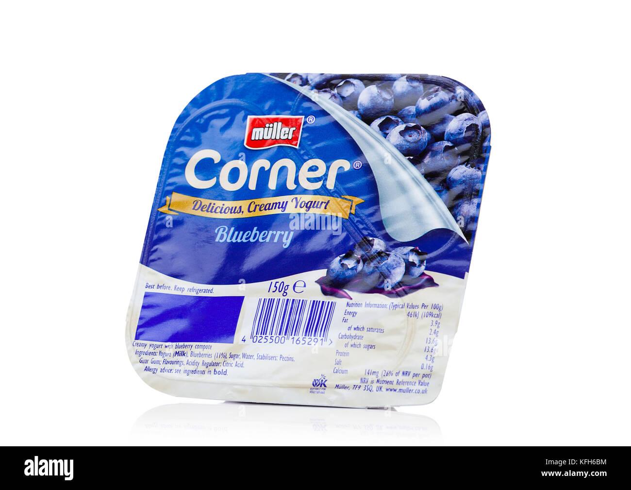 LONDON, UK - OCTOBER 27, 2017: Muller corner yogurt with blueberry on a white background. - Stock Image