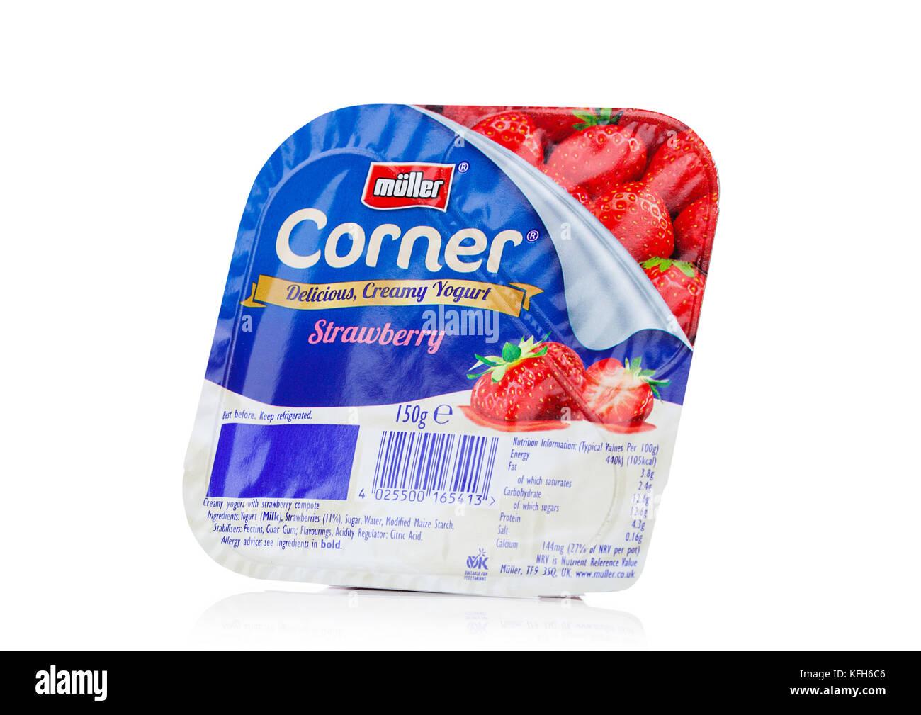 LONDON, UK - OCTOBER 27, 2017: Muller corner yogurt with strawberry on a white background. - Stock Image