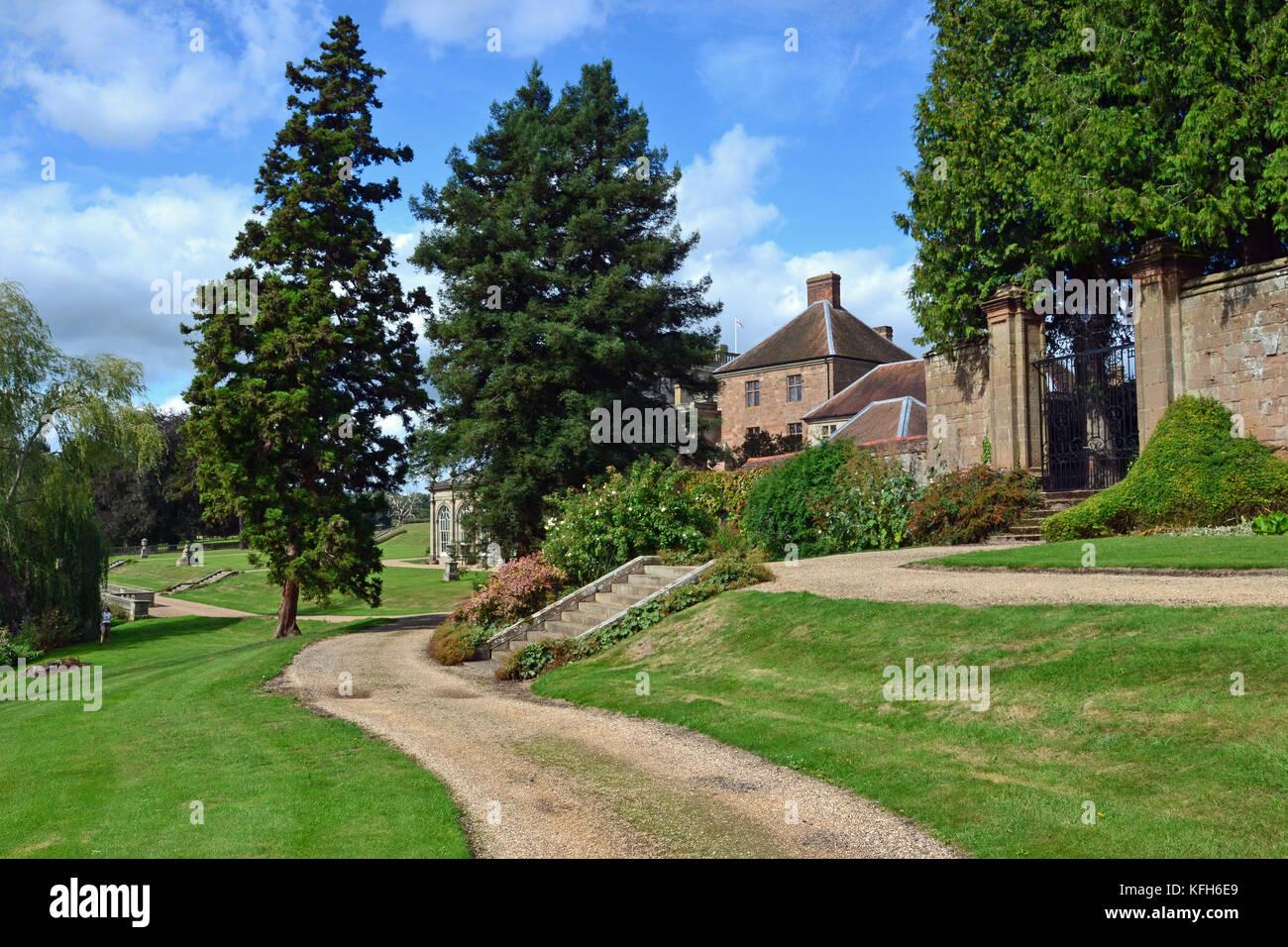View of formal garden at Stoneleigh Abbey, Stoneleigh, Warwickshire, UK - Stock Image