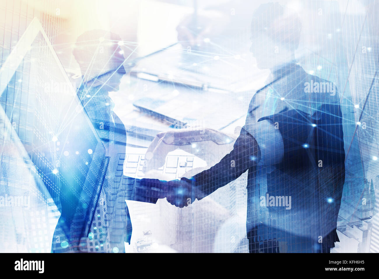 Abstract business handshake. Concept of partnership and teamwork. Double exposure - Stock Image