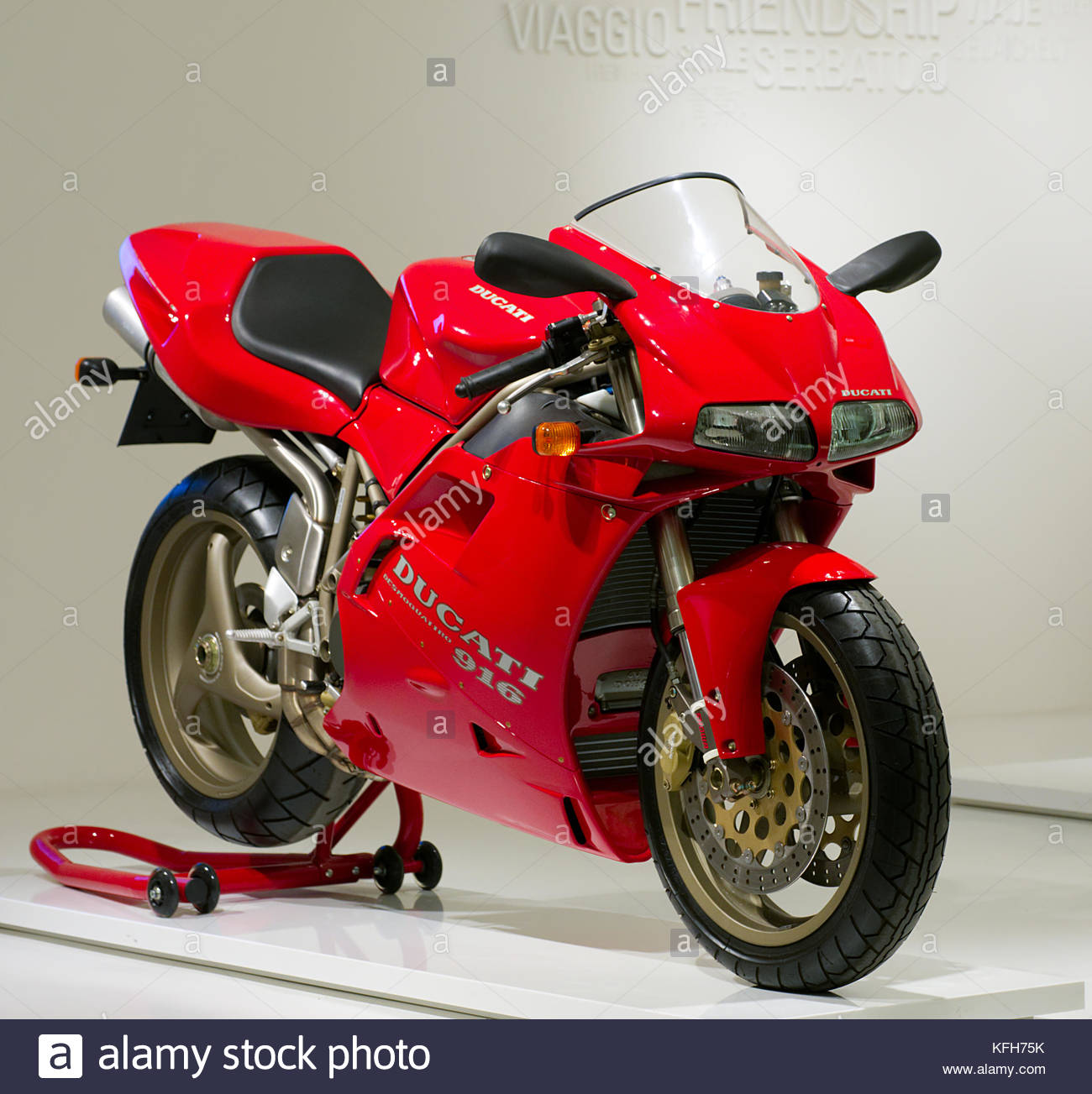 Ducati 916 Motorcycle on display at the Ducati Factory museum, Bologna  Italy.