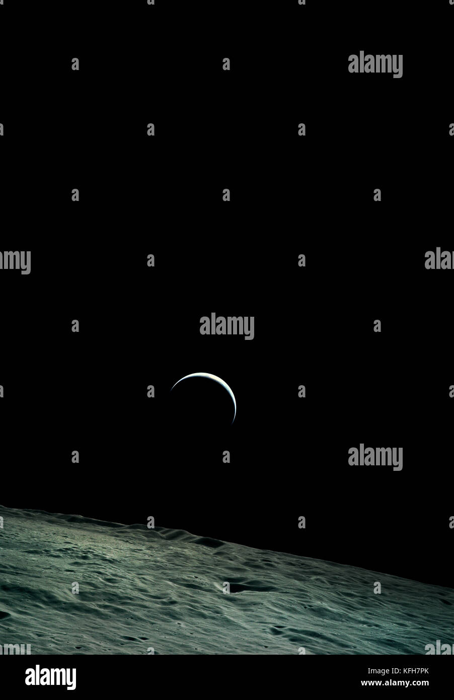 View of Earth from the moon. Apollo 15 was the fourth NASA mission to land on the Moon. 1971. Optimised and enhanced - Stock Image