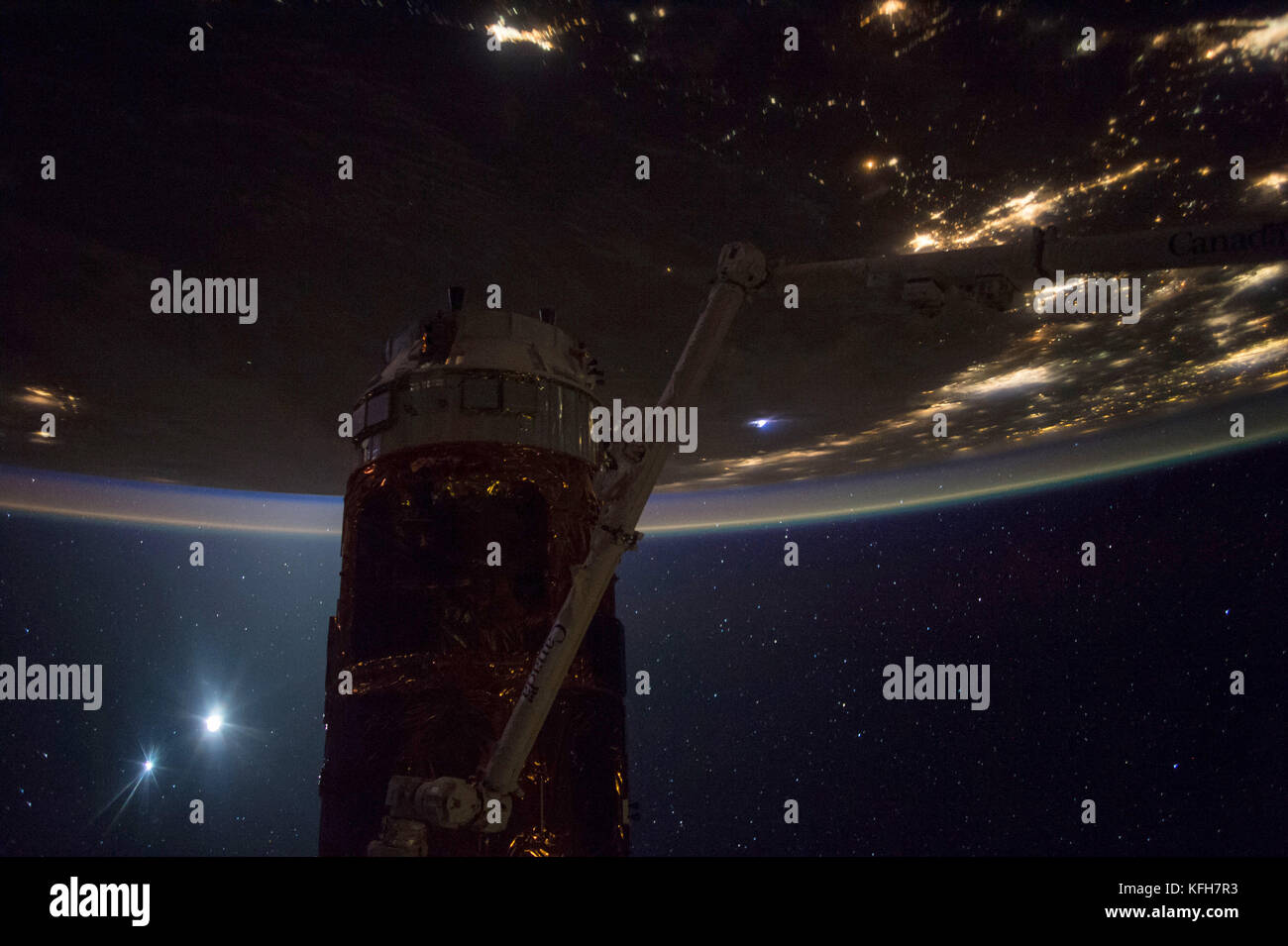 Night Earth Observation from the International Space Station. Optimised and enhanced version of an original NASA - Stock Image
