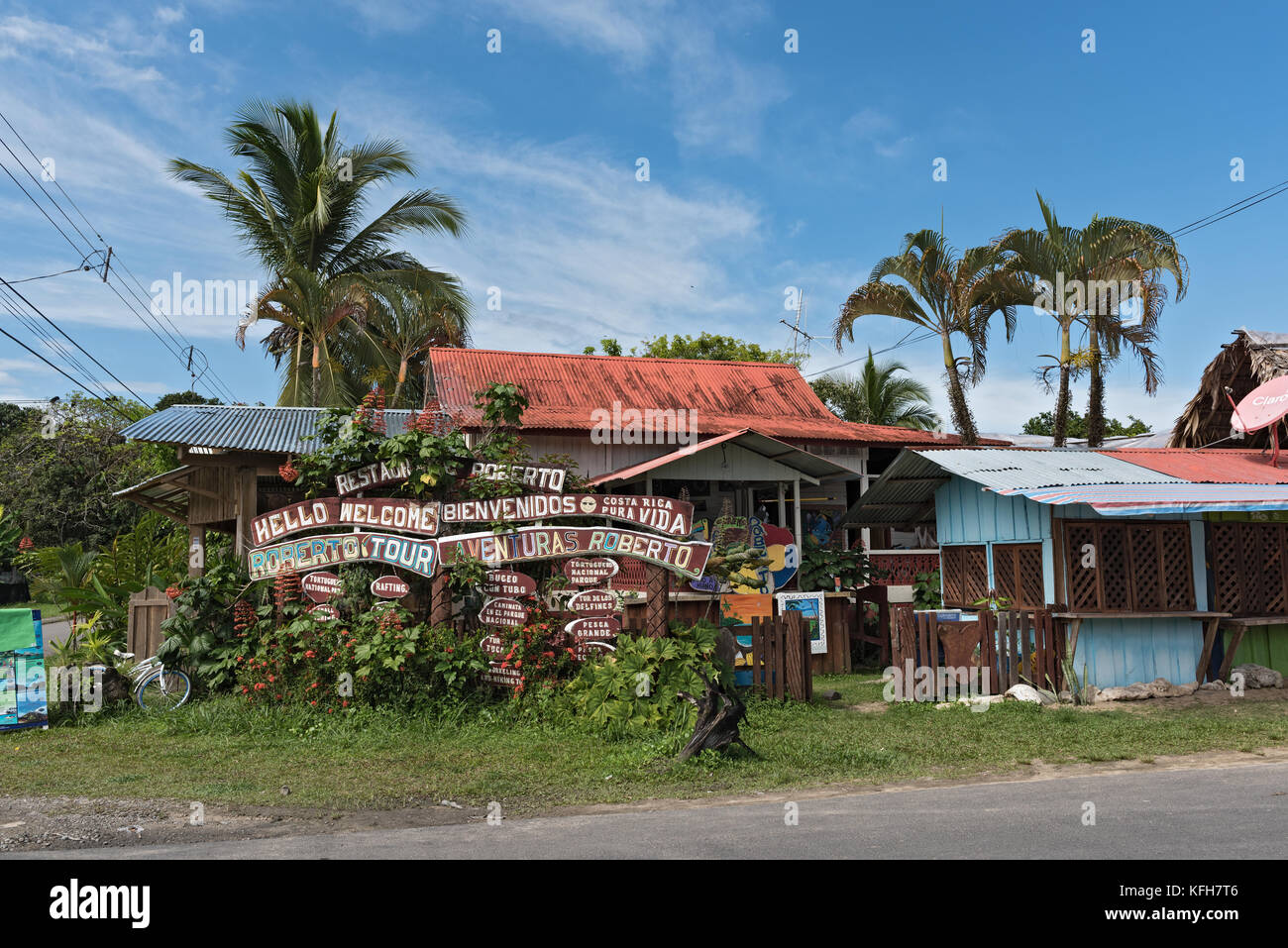 Colorful wooden house in Puerto Viejo de Talamanca, costa rica - Stock Image