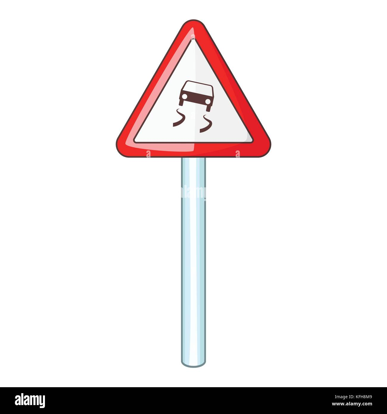 Slippery when wet road sign icon, cartoon style - Stock Image