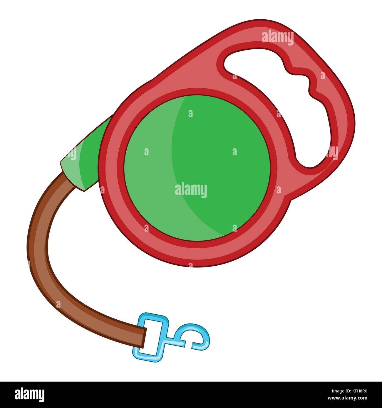 Retractable leash for dog icon, cartoon style - Stock Image