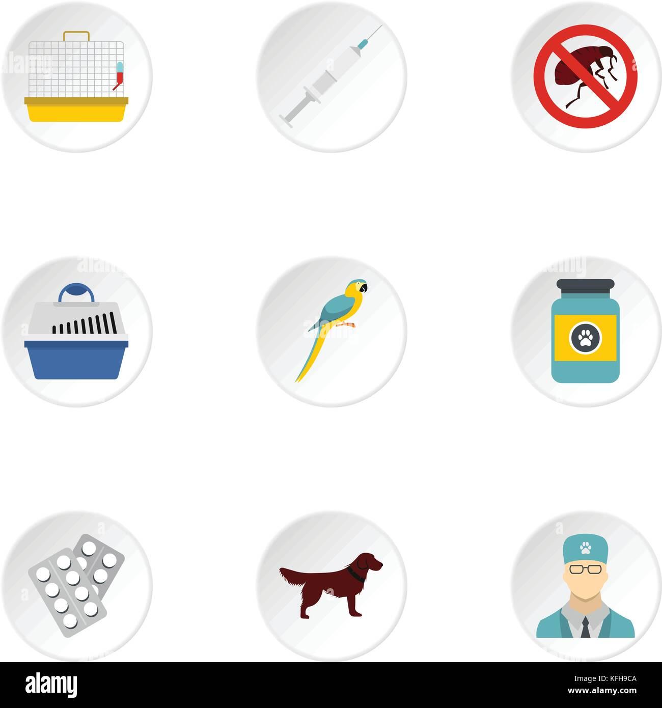 Veterinary icons set, flat style - Stock Vector