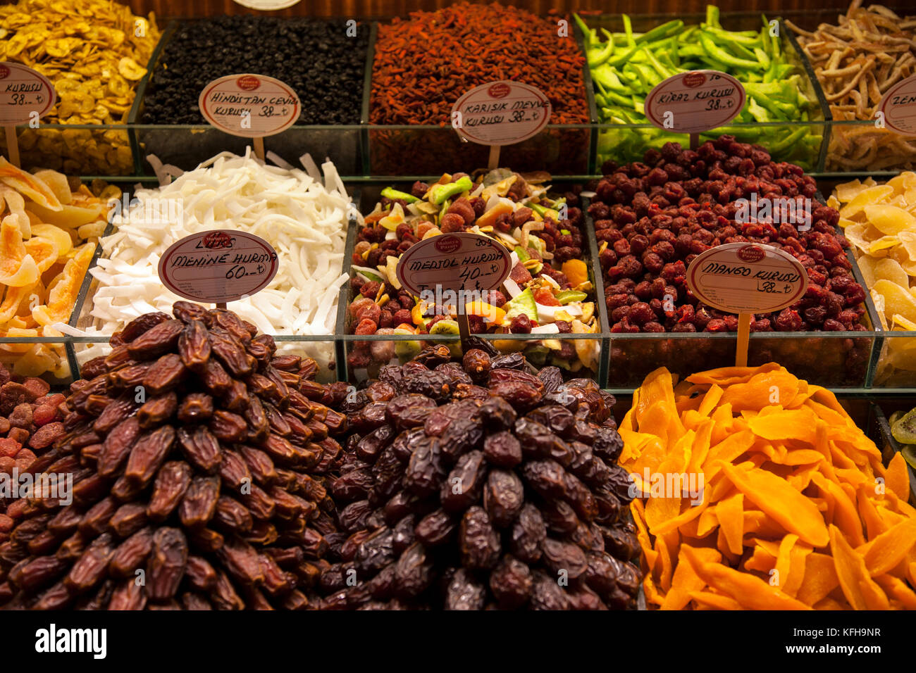 A variety of spices, dates and dried fruit at the spice market in Istanbul, Turkey. - Stock Image