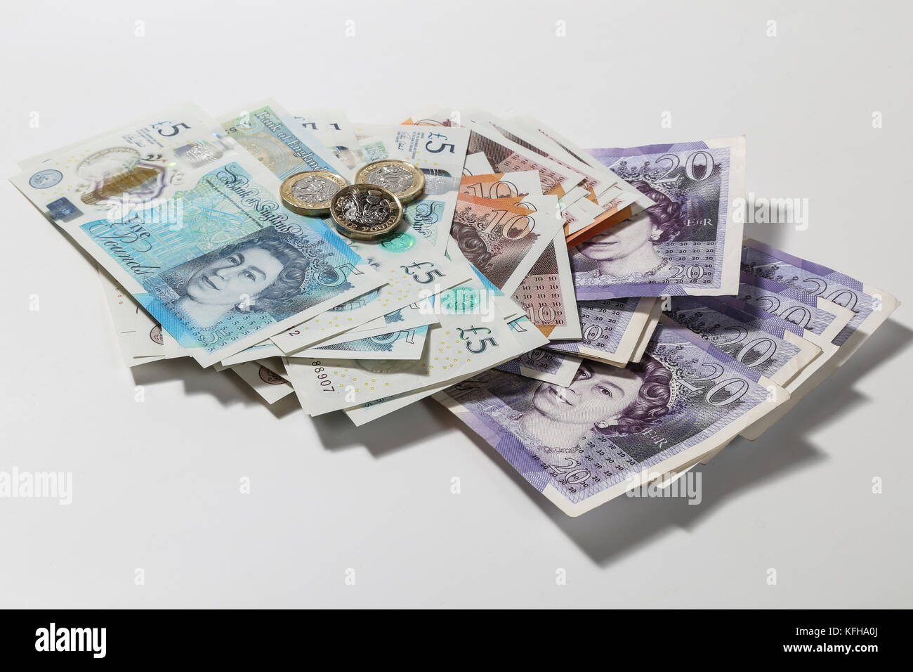 New British £5 and £10 notes - Stock Image