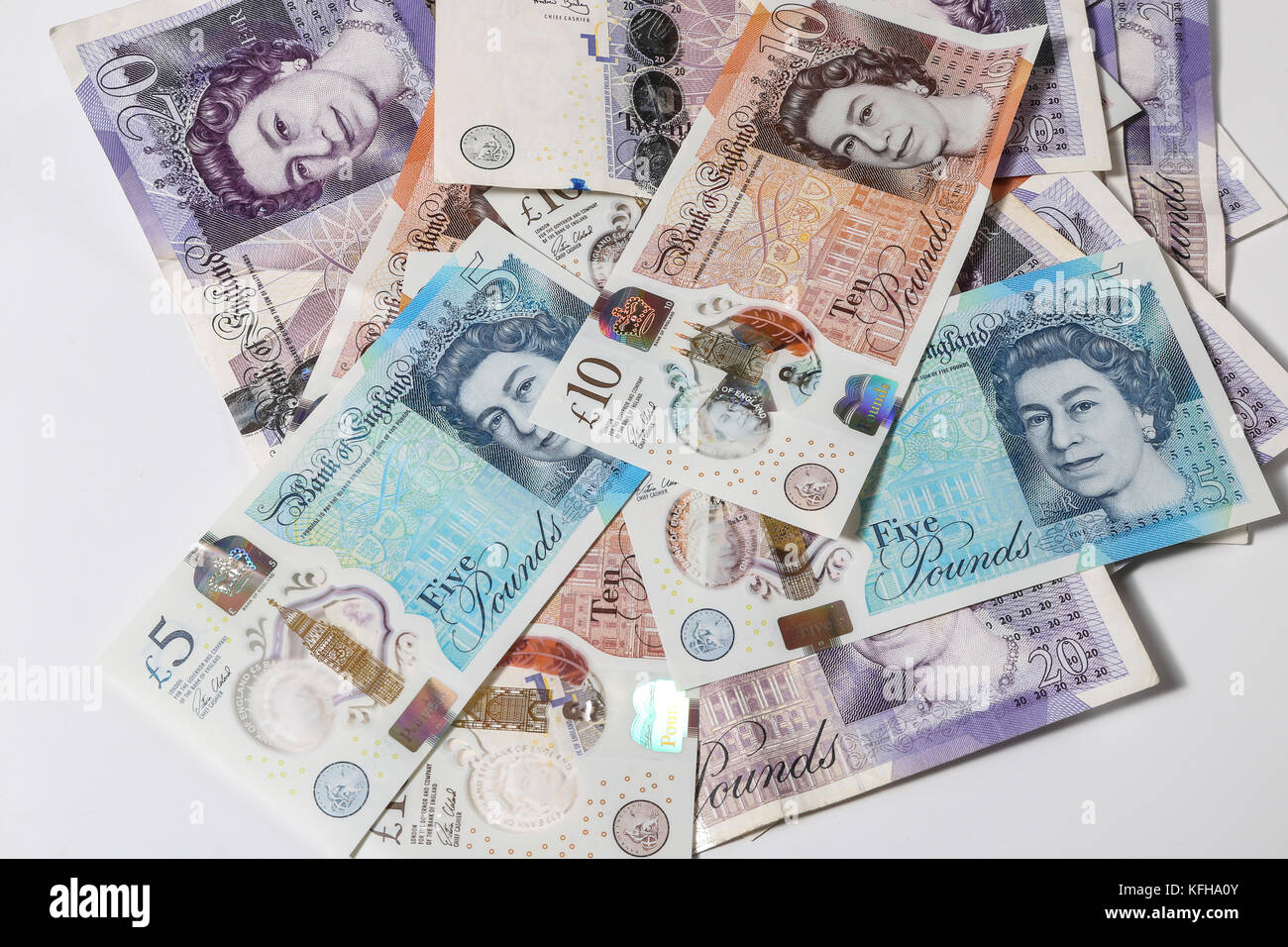 New British £5 and £10 notes Stock Photo