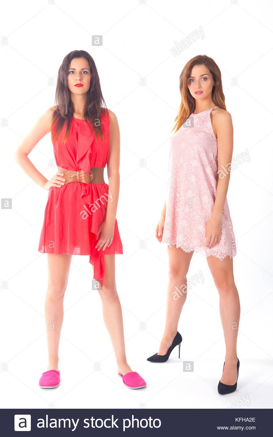 Two pretty models in cute summer dresses - Stock Image